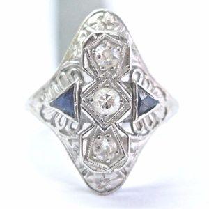 Vintage 18Kt Old European Cut Diamond & Gem Blue S